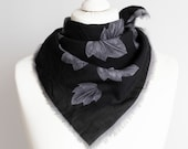 vintage Square scarf, autumn fall scarf, wool scarf, wrap scarf, women scarf 65cm 25 quot warm scarf, floral leaves black gray HOLE