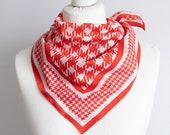 vintage scarf, Square scarf, plaid scarf, polyester houndstooth scarf, women scarf 68cm 26 quot geometric scarf red white