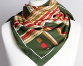 70 39 vintage scarf, Square scarf, plaid scarf, polyester striped scarf, women scarf 75cm 30 quot geometric scarf olive green orange SPOT