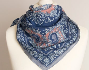 """vintage Square scarf, retro equestrian scarf, silk scarf, women scarf shawl 71cm / 28"""" blue gray oriental scarf STAIN"""