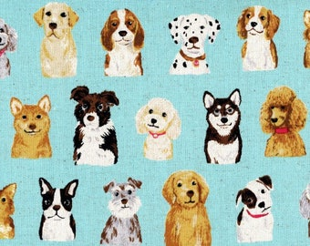 Dog Fabric | Lightweight Canvas Material with Doggy Faces on Blue | Huskies | Poodles | Labs | Boxers | Dalmatians | Cute Dog Print