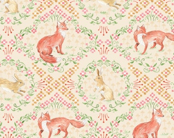 Fox Fabric | Rabbit Fabric | Bunny | Cute Animal Material | Woodland Print | Fox and Hare | Pink | Enchanted Forest | Baby Fabric | Bunnies