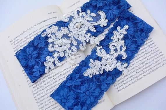Something Blue Garter Bridal Garter Royal Blue Garter Ivory Lace Garter Blue Wedding Garter Something Blue Wedding Garter Set