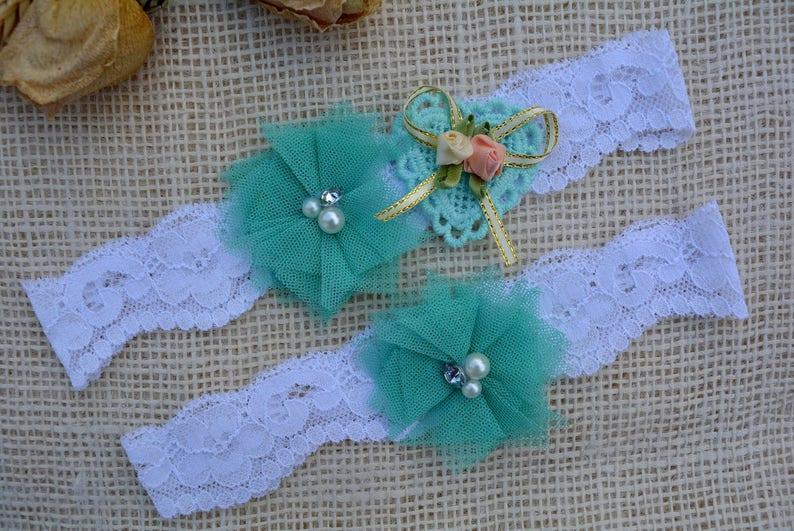White Green Garters Set Mint Green Lace Bridal Garter Set For Bride Wedding Garter Set Tulle Flower Heart Aqua Blue Garters For Wedding