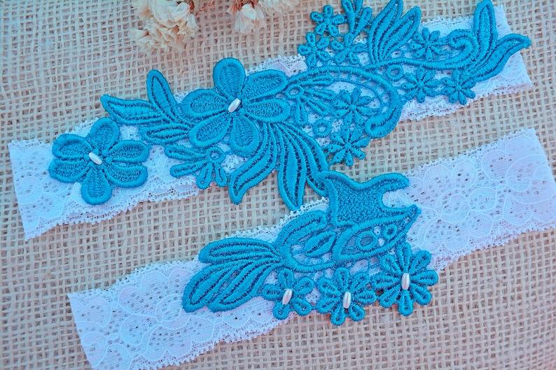 Wedding Garter Set Blue Flower Lace White Elastic Lace