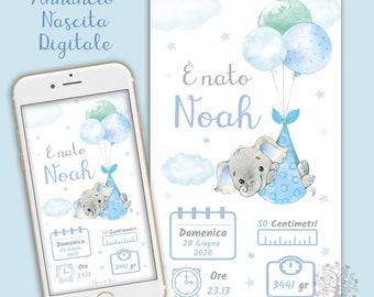 Digital BABY Birth Announcement whatsapp - Birth Card - Baby, Baby, Pink or Blue, Baby, Newborn, Birth