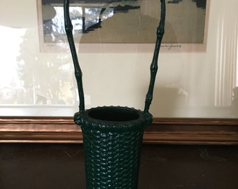 Green Enameled Cast Metal Basket Bud Vase