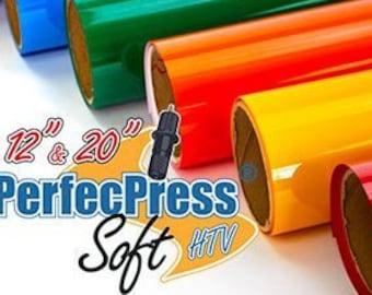 HTV PerfecPress Soft, Heat Transfer Vinyl, Tshirt Vinyl, Iron On Vinyl  - 50 Standard Colors - 40% less than leading brands!
