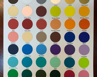 HTV PerfecPress COLOR CHART.  47 colors on this color chart.
