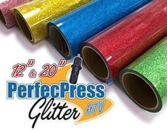 HTV PerfecPress Glitter, Heat Transfer Vinyl, Iron On Vinyl, Tshirt Vinyl, Bling - 20% less than the leading brands!!
