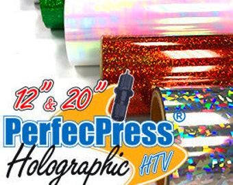 """HTV Holographic Foil """"PerfecPress"""" brand 12 inch sheets, Silhouette, Cricut, Iron On"""