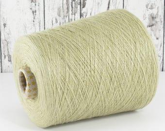 Cashmere/silk (Italy) on cone, green-beige, per 100g: Y001134