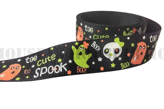 """Happy Halloween 1/"""" wide grosgrain ribbon the listing is for 5 yards total"""