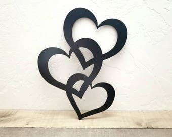 Heart Wall Decor Metal Art Cutout Hearts Love Valentines Gift Idea For Her Wedding Stacked Home