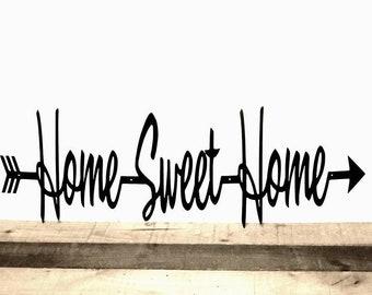 Home Sweet Home Sign Metal Wall Art Arrow Wall Decor Cutouts with Sayings Metal Word Art Cursive Words Split Arrow Word Arrow Entryway Sign