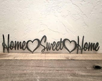 Home Sweet Home Sign Metal Decor Entryway Sign Home Decor 25 Inch Rustic Farmhouse Style Metal Wall Art Housewarming Gift Idea for Her