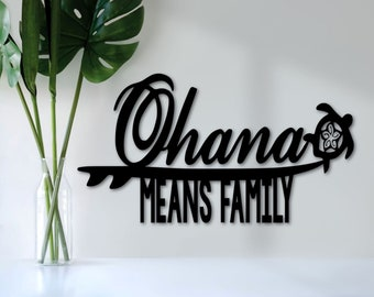 Family sign plaque Ohana sign Hawaiian word meaning Family Word art Sign