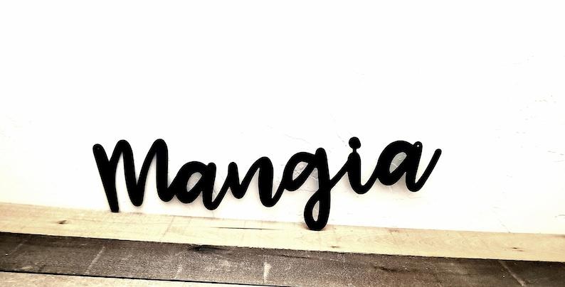 Tremendous Mangia Sign Kitchen Metal Wall Art Mangia Kitchen Sign Italian Kitchen Decor Eat Sign Metal Kitchen Wall Decor Italian Gifts Wall Words Interior Design Ideas Gentotryabchikinfo