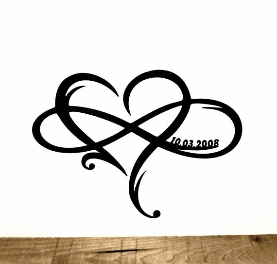 Metal Infinity Symbol With Heart And Custom Wedding Date Wall Etsy