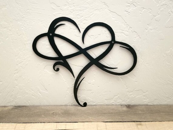 Infinity Heart Metal Sign Infinity Symbol Metal Wall Art Love Etsy