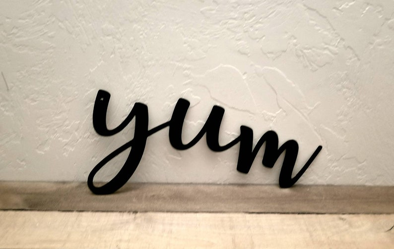 Yum Sign Metal Word Art Kitchen Sign Dining Room Decor Metal Etsy