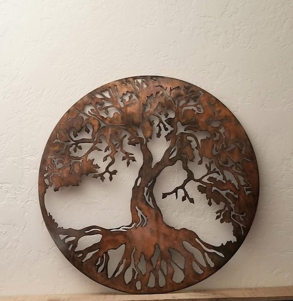 Round Tree Of Life Metal Wall Art Circle Tree Of Life Etsy