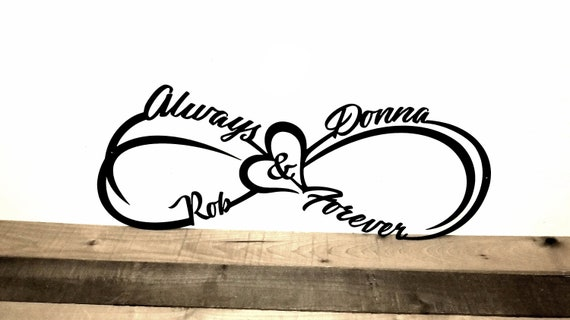 Custom Infinity Symbol With First Names Heart And Always And Etsy