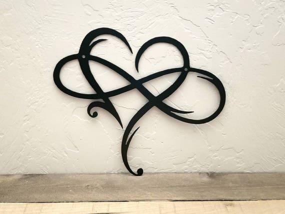 infinity sign metal wall art metal infinity symbol and heart etsy. Black Bedroom Furniture Sets. Home Design Ideas