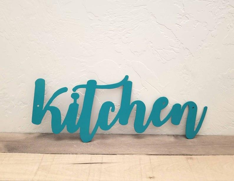 Astounding Kitchen Sign Metal Word Art Kitchen Wall Decor Metal Wall Art Kitchen Gifts Cursive Letters Word Signs Kitchen Words For Wall Metal Sign Home Interior And Landscaping Palasignezvosmurscom