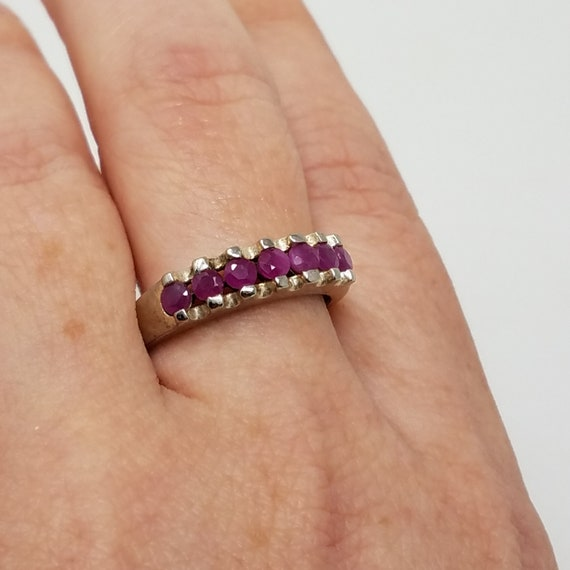 Ruby Band Ring Size 10/Sterling Silver/Genuine Ru… - image 7