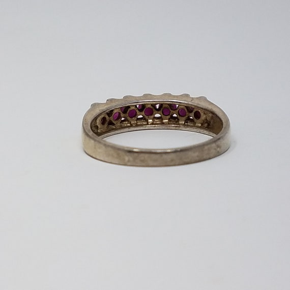 Ruby Band Ring Size 10/Sterling Silver/Genuine Ru… - image 4