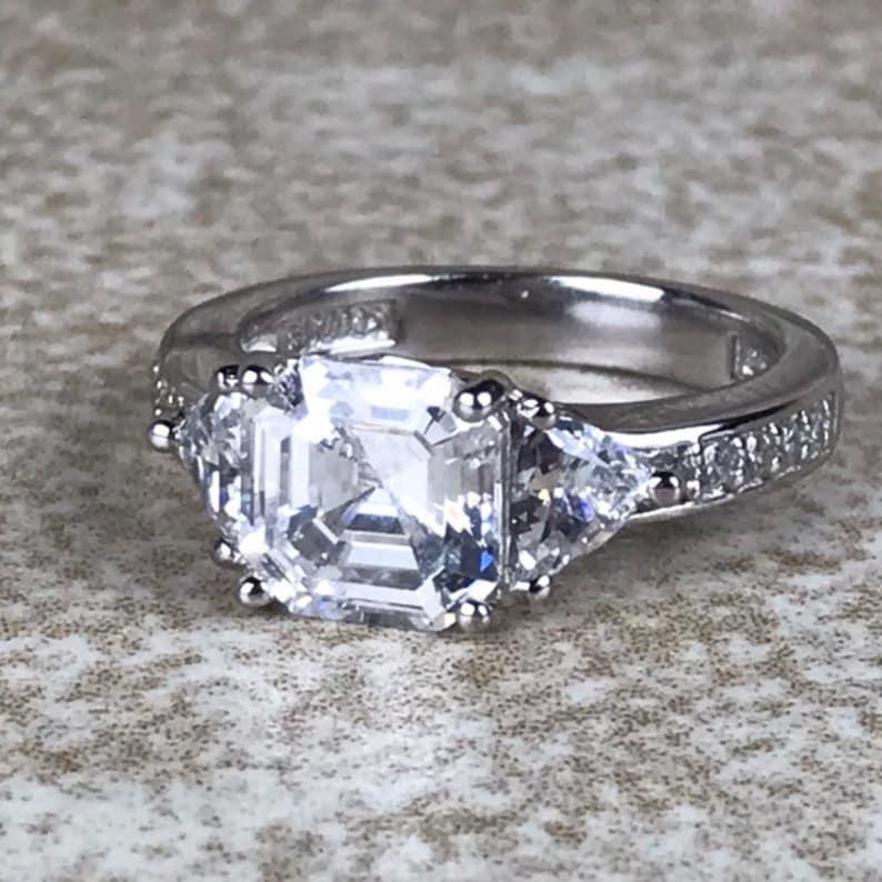 Cubic Zirconia Engagement Ring Size 5Sterling Silver 925Total 1.75ct Asscher /& Trillion CutVintage EstateVintage CZ Wedding Ring