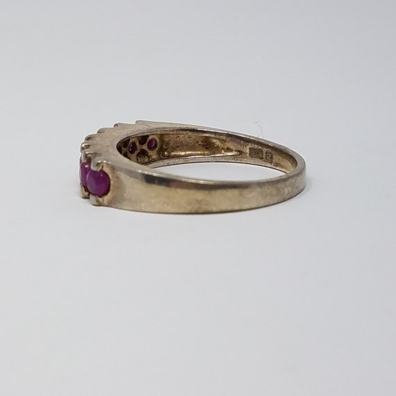Ruby Band Ring Size 10/Sterling Silver/Genuine Ru… - image 5