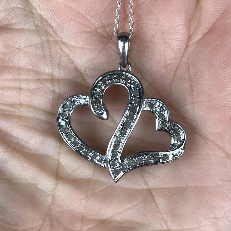 Diamond Heart Pendant NecklaceSterling SilverTotal .33ctGenuine DiamondVintage DiamondDiamond Necklace For WomenTwin Heart