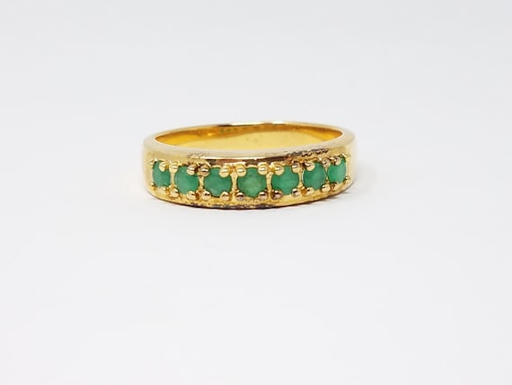 Emerald Band Ring Size 10.25/Gold Vermeil Sterling