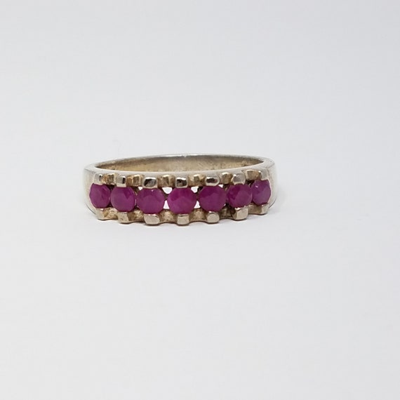 Ruby Band Ring Size 10/Sterling Silver/Genuine Ru… - image 2