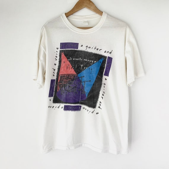 1989 Neil Young Solo Tour Vintage Band Rock Shirt