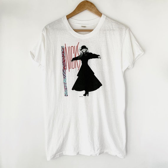 World Tour Unisex Apparel Vintage Stevie Nicks Tee Retro 1986 Rock A Little Concert Queen of Rock and Roll Size L Single Stitch