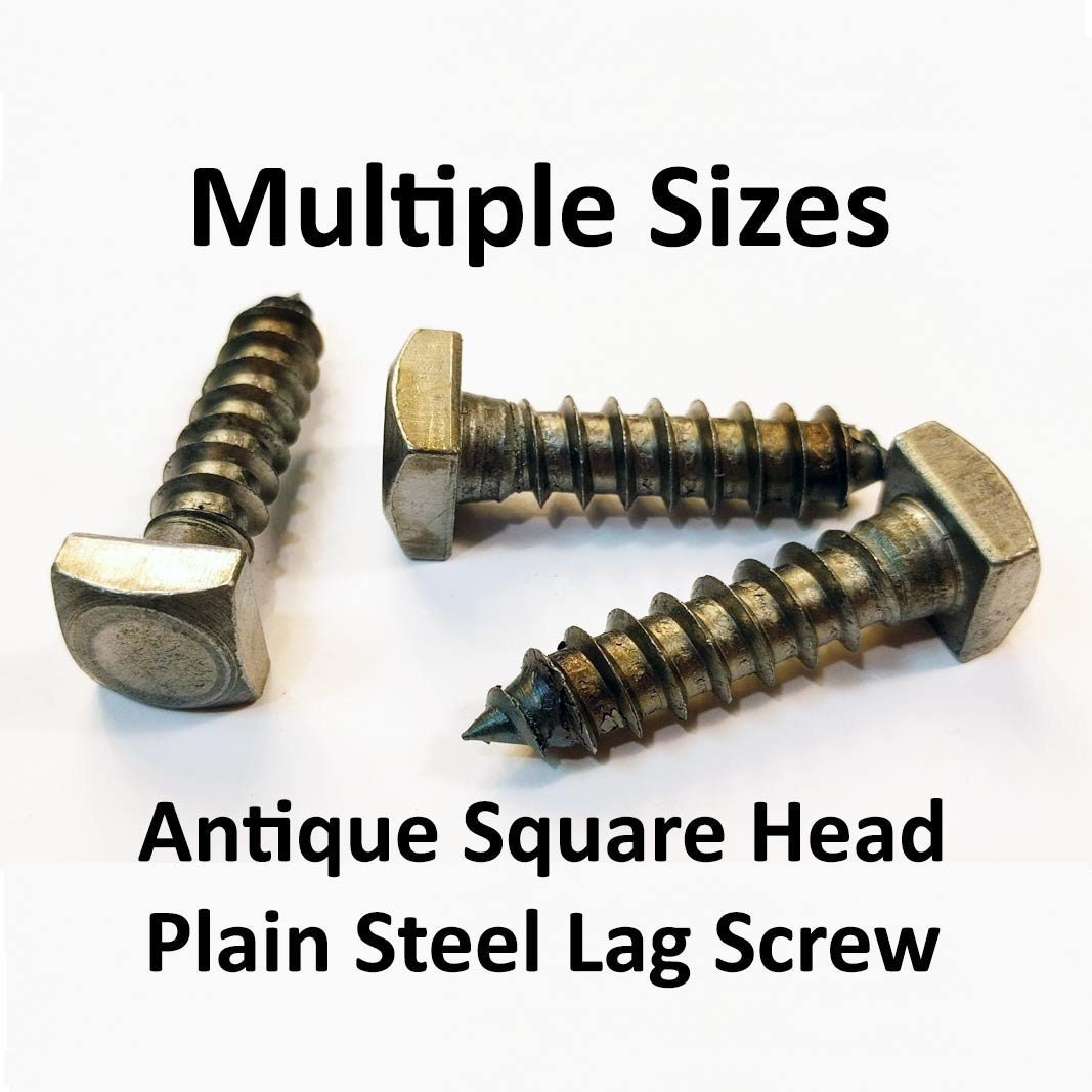 3//8 X 4 Square Head Lag Bolt Screw Steel Plain Blacksmith Antique 25 Pcs