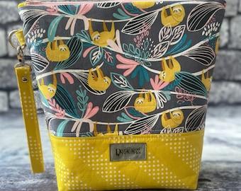 Handmade Sloth Project Bag - knitting/crochet/zipper pouch