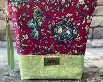 Handmade Notions Nest Project Bag - knitting/crochet/zipper pouch