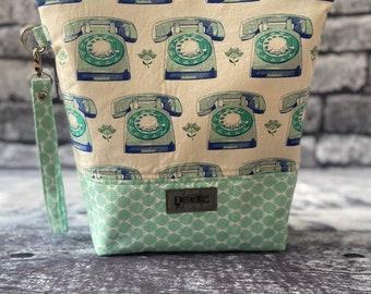 Handmade Rotary Phone Project Bag - knitting/crochet/zipper pouch