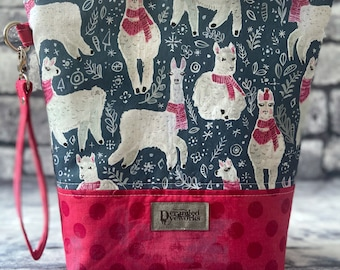 Handmade Llama Project Bag - knitting/crochet/zipper pouch