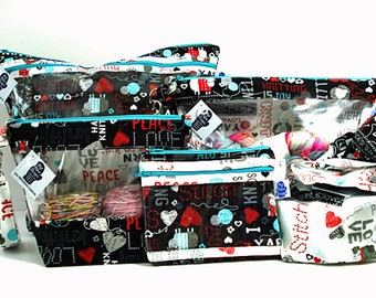 Peace Love Knitting, Project Bag, Knitting Project Bag, Zippered Pouch, Wedge Bag, Crochet Bag, Knitting Bag