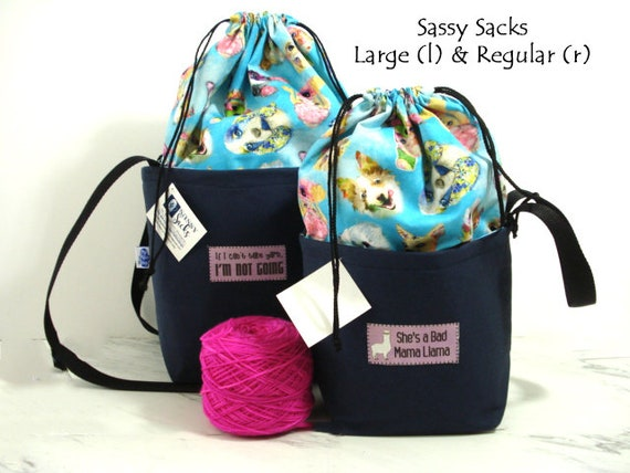 SWAN print medium fully-lined cotton drawstring knitting project bag