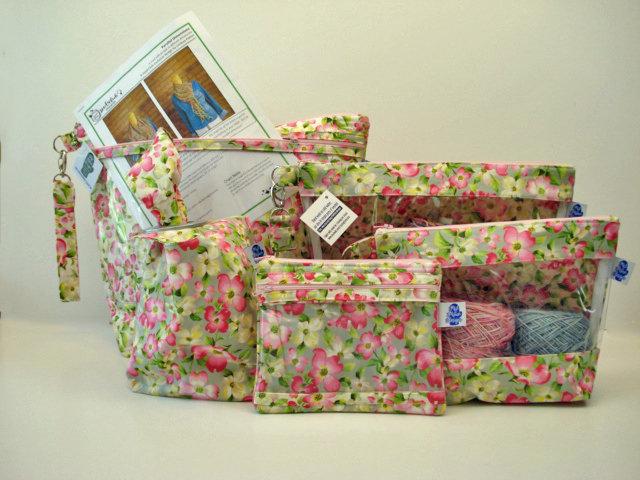 Dogwood; Project Bag, Knitting Project Bag, Zippered Pouch, Wedge Bag, Crochet Bag, Knitting Bag