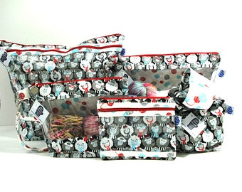 Sheep wearing hats and scarves; Project Bag, Knitting Project Bag, Zippered Pouch, Wedge Bag, Crochet Bag, Knitting Bag