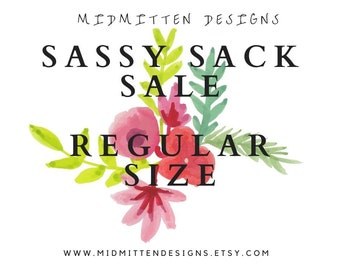 SALE! Regular SASSY SACKS, Canvas Project Bag, Drawstring Project Bag, Knitting Project Bag, Yarn Tote, Yarn Storage