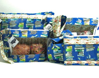 Books, stacks and stacks of books.  Project Bag, Knitting Project Bag, Zippered Pouch, Wedge Bag, Crochet Bag, Knitting Bag
