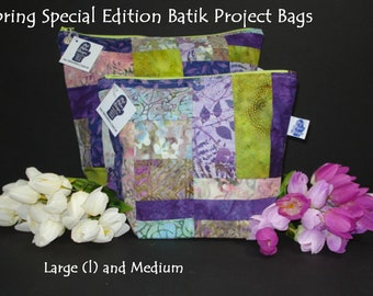 Spring Special Edition Batik Project Bags, Project Bag, Knitting Project Bag, Zippered Pouch, Wedge Bag, Crochet Bag, Knitting Bag